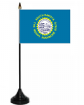 South Dakota Desk / Table Flag with plastic stand and base.